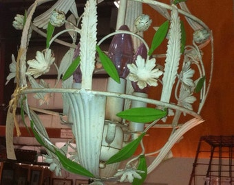 Vintage tole light fixture flowers