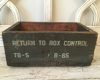 Vintage Rustic Wooden Crate - Army Green Tote Box