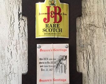 Vintage J & B Scotch Advertising Calendar Sign - Liquor Store, Bar Advertising - Man Cave Decor