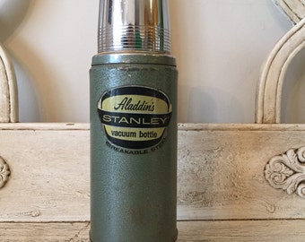 Vintage Stanley Thermoses - Heavy, Aluminum Retro Green Thermos - Aladdin