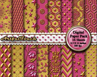 Pink Gold Digital Paper: Gold Digital Paper Gold Digital Scrapbook Paper Pack, Gold Pink Paper, Gold Printable Party Paper  INSTANT DOWNLOAD