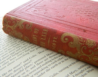 The Lady of the Lake by Sir Walter Scott. Rare Antique Book from 1854. Victorian Library.