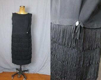 Black Fringe Dress / 60's / large