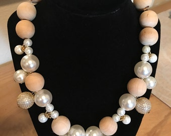 Inspired Necklace of Wooden Beads and Faux Pearls with silverlike magnetic clasp