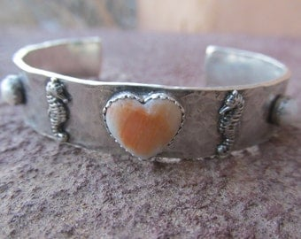 Sterling Silver Artisan Cowgirl Heart Cuff Bracelet with White Pearl and Orange Spiney Oyster Gemstones Southwestern Ocean Nautical Bracelet