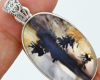Picture Agate Sterling Pendant.