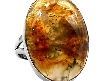 9 Size All Natural Orange Moss Agate Specimen Sterling Silver Ring.