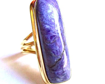Absolutely Gorgeous Charoite 24 Kt Gold Vermeil Silver Ring. Size 7 1/2. COANM©2016
