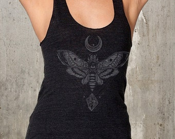 Women's Graphic Tank Top - Moon, Moth, Rock - Racer Back - American Apparel Tri-Blend Tank - Available in XS, S, M, L