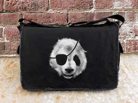 Messenger Bag - Panda Pirate - Screen Printed Messenger Bag