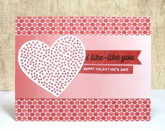 I Like Like You Card- Valentine's Card- Funny Card- Funny Valentine- Heart Card- Valentines Day- Clearance