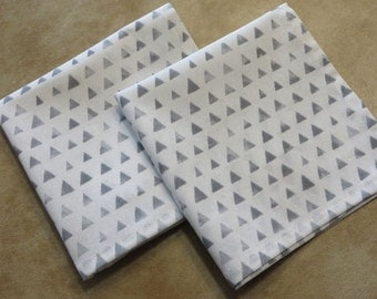 Handkerchiefs White and Grey, Set of 2 Hankies, White with Grey triangles, Handmade in the USA