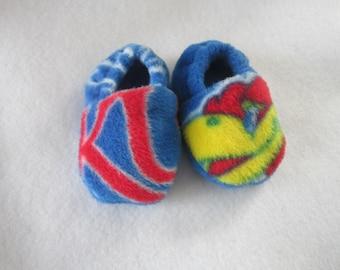 KU Kansas fleece baby booties