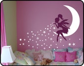FAIRY Wall Art | Fairy Decor | Fairy Wall Art | Fairy Blowing Stars | Baby Girl Nursery Decor  | Tinkerbell Wall Decal | Pixiedust Designs