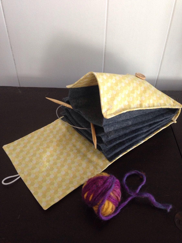 Knitting Needle Organizer Pattern : Circular Knitting Needle Organizer Case Yellow Honeycomb