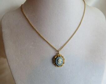 "15 1/2"" Vintage Blue Cameo Lady Necklace"