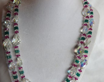 """46"""" Christmas Necklace, Necklace, Red, Green, Christmas"""