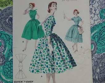 Vintage Pattern c.1950's Butterick No.7651 Full Skirted Dress, Sz. 14