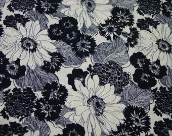 "Vintage Cotton Decorator Fabric, Striking Black & White Print 3 Yards, 48"" Wide"