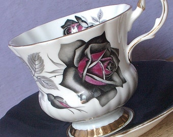 Vintage 1950's Gothic Rose teacup and saucer, Windsor tea cup, black rose tea cup, English tea cup, black and white Bone china teacup