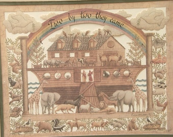 Vintage Designs with Scissors Cut paper art, Noah's Ark, Two by Two They Came, Animal art framed, Religious children's bedroom decor, bible