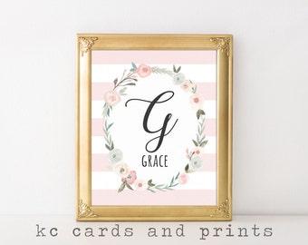 Grace Nursery Name Art Printable - G Monogram Print - Name Art Print - Nursery Printable Wall Art- Baby Name