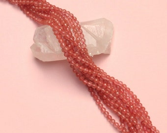 Faceted Cherry Quartz -  6mm Round - 15 inch strand of 61 beads