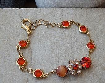 Orange bracelet. Chanel inspired jewelry. Swarovski bracelet. Flowers chanel bracelet. Gold Dainty jewelry. Bridesmaid sparkle bracelet gift