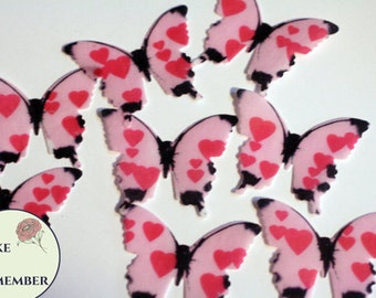 Edible butterflies, 24 pink hearts edible butterflies for cake decorating, cupcake toppers, cake pops. Anniversary cake toppers.