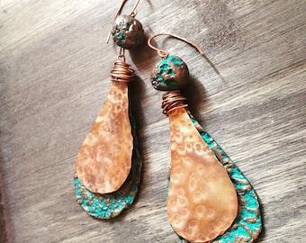 Rustic earrings, turquoise earrings, dangle earrings, copper earrings, rustic jewelry, copper earrings, natural earrings, simple earrings