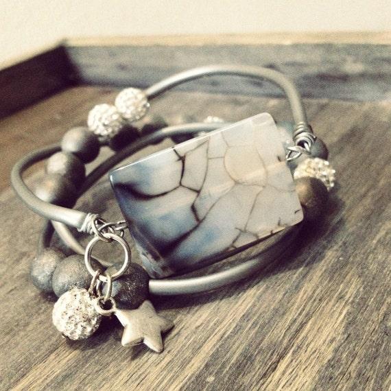 Charm bracelet, gemstone bracelet, druzy jewelry, boho bracelet, stacking bracelet