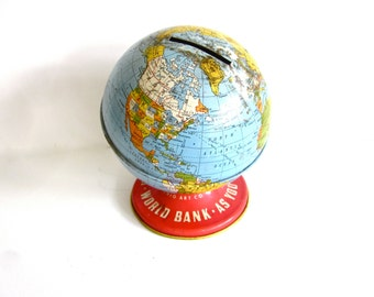 Vintage tin toy globe bank, World Bank, Ohio Art, collectable toys