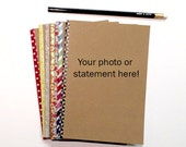 Personalized notebook, journal, diary, sketchbook, custom size, front and washi edge.