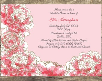 Pink Peony Floral - Bridal Shower, Bachelorette Party, Rehearsal Dinner Invitation