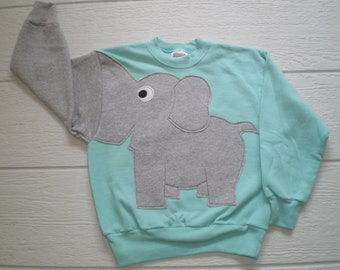 Childrens Elephant Trunk sleeve sweatshirt,  sweater, elephant jumper, KIDS small ONLY, Special Deal, mint green, elephant shirt