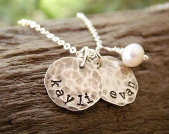 Necklace with Kids Name Sterling Silver Stamped Distressed Disc One Two Three Four Five Six Names