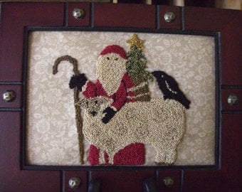 Primitive Punch Needle Christmas in the Country Framed Punchneedle OOAK