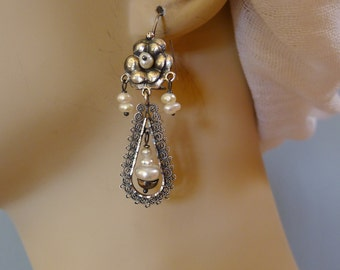 Mexican filagree silver drop earrings pearls Oaxacan Wedding Frida Kahlo boho drop 2 1/4""