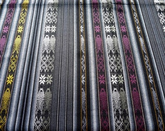 "Ecuador Fabric 54""wide yardage tablecloth w/fringe Andean motifs golden fish gray black tightly woven acrylic SouthWest style - TWO yard cut"