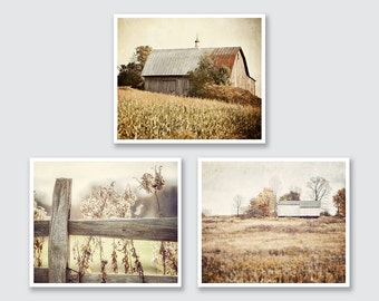 Rustic Country Landscape Print or Canvas Wrap Set, Country Wall Gallery Set, Gold, Beige, Neutral Wall Gallery, Barn Photography.