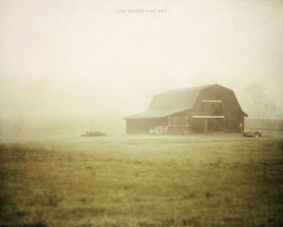 Landscape Print or Canvas Wrap, Country Decor, Farm Photography, Barn in Fog, Country Chic Decor, Farmhouse Picture, Green, Beige, Field.