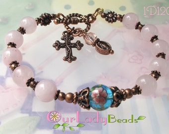 Rosary Bracelet One Decade, Rose-Pink Quartz Rosary Bangle,Catholic Bracelet,Religious Gift,Beaded Bracelet,Bridal,Confirmation Gift,#1D120