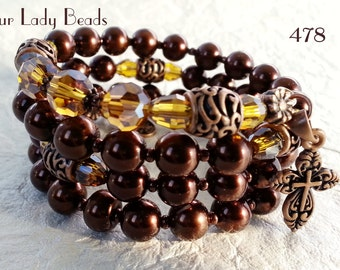 Rosary Bracelet,Rosary Wrap Bracelet,Copper-Brown Glass Pearls,Religious Gift,Catholic Jewelry,Bridal,Mother's Day,Confirmation,#478