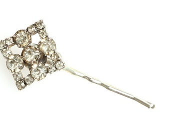 Handcrafted Silver Rhinestone Hair Clip Handmade Bobby Pin One of a Kind Hair Accessory Soldered Wedding Hair Bridesmaid 1000645