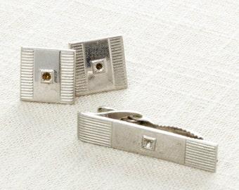 Vintage Silver Cuff Links & Tie Clip Set | Men's Accessories Signed Hickok USA Men's Classic Square | 1950s 60s True Vintage Cufflinks | 7E