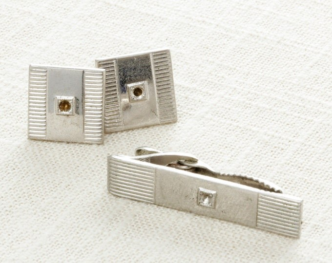 Vintage Silver Cuff Links & Tie Clip Set | Men's Accessories Signed Hickok USA Men's Classic Square | 1950s 60s True Vintage Cufflinks | 7E