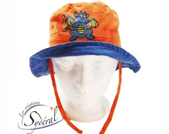 Kid and baby summer hat, travel hat, beach hat, orange and blue with handpainted dragon. beach hat travel hat