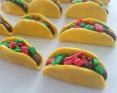12 Fondant cupcake toppers--taco, tacos