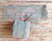 Grey Stretch Lace | 2 inch Wide Stretch Lace for Headbands, Garters | 9 Yard Roll