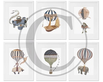 "Limited Edition Set of 6 *5x7 or 8x10 original signed Prints ""Hot air Balloons & Animals"" Solid background"
